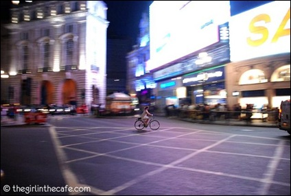 Brave lone rider cycling in london