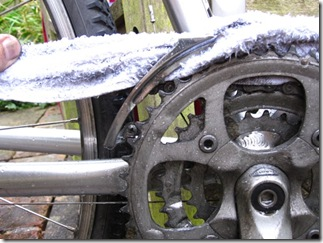Use a cloth to clean the front mech