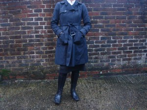 Zara Mac, LK Bennett skirt and long leather boots