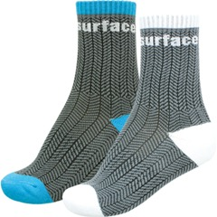 Surface clothing crew sock in grey with blue outline or white