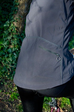 Showing pocket detail on back of Rapha classic jacket