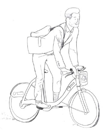 London Cyclist Handbook Preview - Hand drawing of Boris Biker