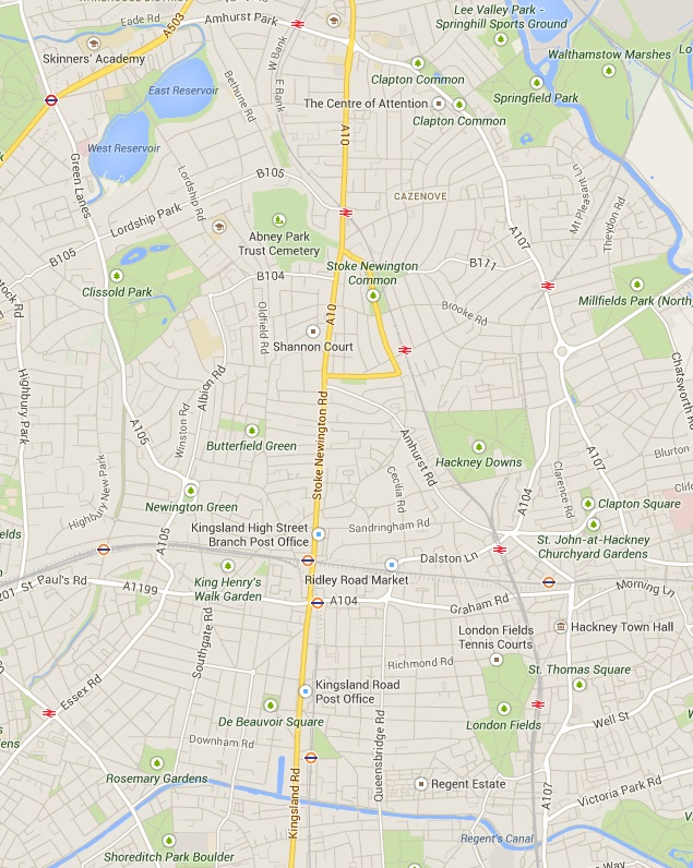 The A10 runs north-south, covering Kingsland Road and Stoke Newington Road. Is a parallel quietway possible? - from Google Maps